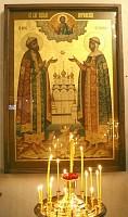 Икона святых благоверных князей Петра и Февронии с частицей их святых мощей